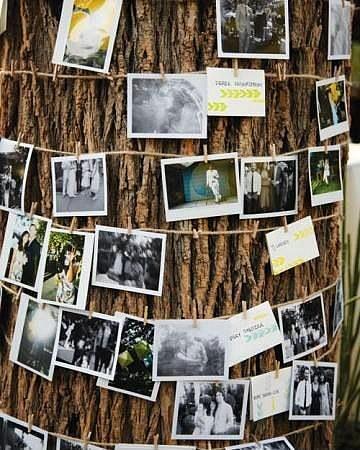12. Ağaç dekorasyonu  Masaların ardında duran ağaçları da es geçmemek gerek. Hem ağaçlara zarar vermemek, hem de vintage bir görüntü sağlamak adına ipe asılı fotoğrafları ağaca sarabilirsiniz.