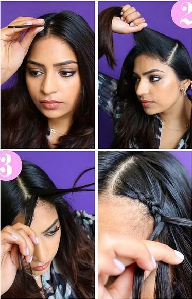 2.3.4. Saçınızı ortadan ikiye ayırın. Hem sağ, hem de sol tarafı örün. Birleştikleri noktadan da aşağı doğru tek bir örgü şeklinde inmesine yardımcı olun.