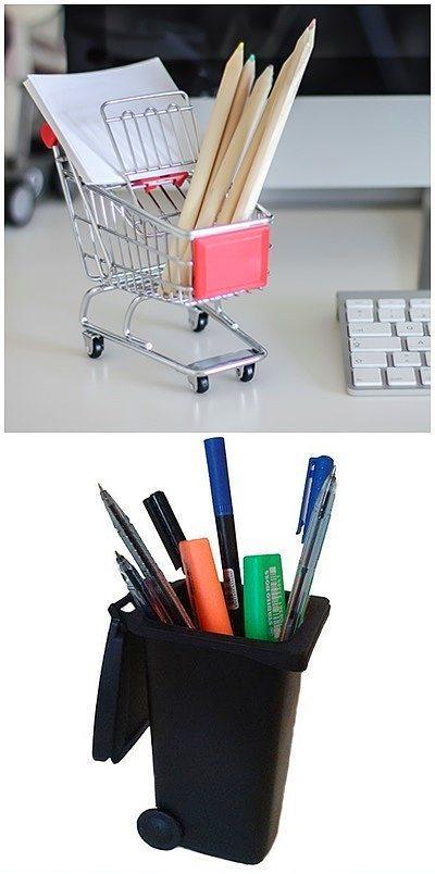 Ofis masasında şöyle bir alışverişe ya da çöp toplamaya bile çıkabilirsiniz.  Metal kalemlikler sizinde canınızı sıkıyorsa işte size çözüm olacak iki alternatif! Sıkılınca şöyle bir masada tura çıkın ve dağınıklığı hemen toparlayın.  Alışveriş sepeti: 14,90TL Çöp kovası: 9,90TL