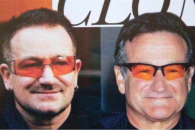 Bono & Robin Williams  Gözlükler mi kafa karıştırıyor, yoksa gerçekten arada bir benzerlik var mı? Sanki var gibi değil mi?  Kaynak: Onedio.com