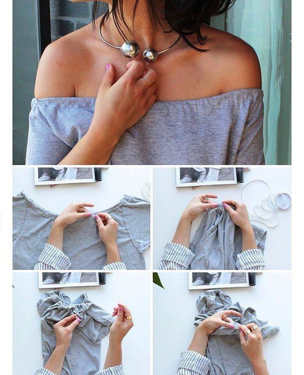 Bu yazın modası: Omuzlar Fora!  Omuzlarınızı açıkta bırakacak şekilde yakasını kestikten sonra, lastikli ipi, tişörtün omuzları boyutunda kesin. Başlangıç noktasını, dikerek sabitleyip, tişörtü kıvırıp dikmek suretiyle lastiği gizleyin. Sonuç mu? Sezonun en büyük trendi olan omuzları açıkta bırakan bir tişört :)