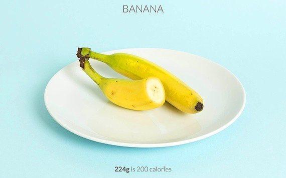 224 gr muz = 200 kalori  Dilimlediğiniz muzların üzerine biraz kakao dökerek tatlandırabilirsiniz.