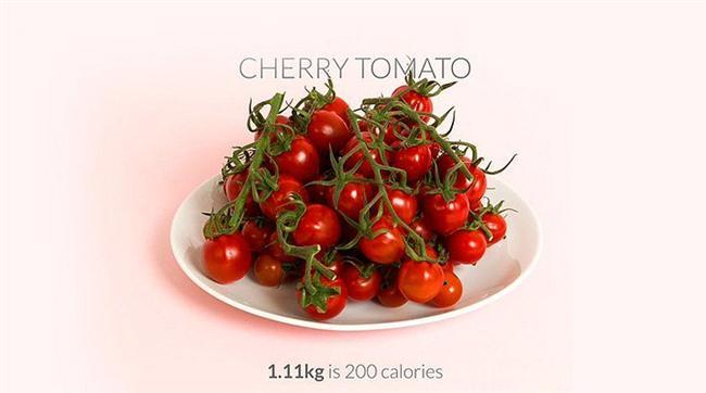 1110 gr kiraz domates = 200 kalori  İkiye kesip üzerine kekik, karabiber çok az tuz ve zeytinyağı gezdirerek enfes bir salata yapabilirsiniz.