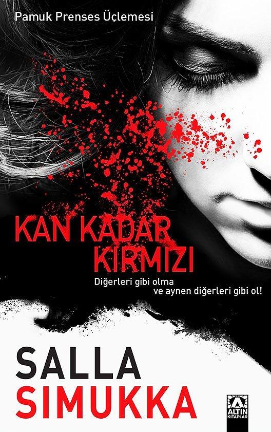 """""""Kan Kadar Kırmızı"""", Salla Simukka  """"Kan Kadar Kırmızı"""", ünlü Fin polisiye yazarı Salla Simukka'nın gerilim dizisinin son halkası. """"Lumikki Andersson gizemli yalanlar söylemeye alışkındır ama başkalarının işine karışmamak gibi de bir kuralı vardır. Okulun karanlık odasında desteler dolusu kanlı para bulunca bu kural bozulur. Lumikki bir anda kendini katillerin, dolandırıcıların kol gezdiği tehlikeli bir dünyanın içinde bulur. Artık olayları uzaktan izleyen bir seyirci olmaktan çıkarak bir hedef haline gelmiştir ve aklını kullanıp acımasız bir katilden kurtulması gerekmektedir."""" (Tanıtım Bülteninden)."""