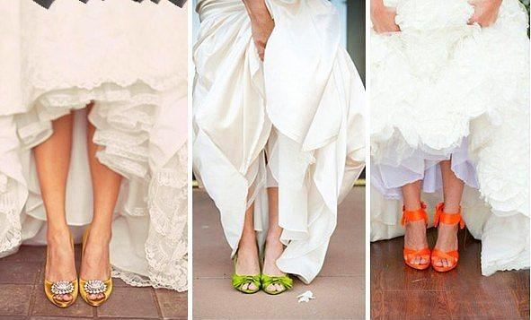 Gelin ayakkabısı renkli olamaz diye bir kural yok!