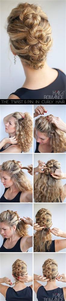 Tamamen arkaya doğru taradığınız saçı, üstten başlayarak şekildeki gibi minik topuzlar halinde toplayın.
