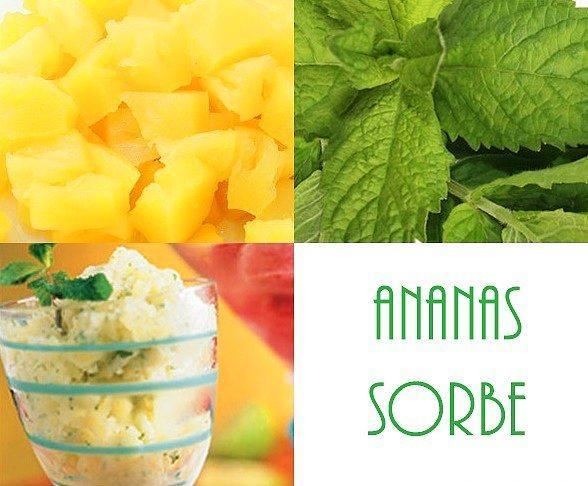 Ananas + Taze Nane = Ananas Sorbe  Buz gibi bir tatlıya ne dersiniz?   Doğranmış konserve ananası suyuyla birlikte dondurun. Ardından taze nane yaprakları ve donmuş ananasları blendera atıp iyice pürüzsüz olana kadar karıştırın.