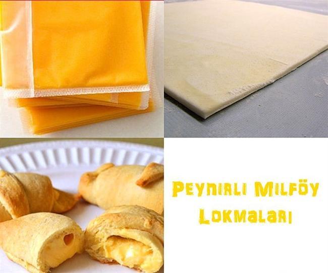 Dilimlenmiş Kaşar + Milföy Hamuru = Peynirli Milföy Lokmaları  Canınızın çekmemesi mümkün değil!