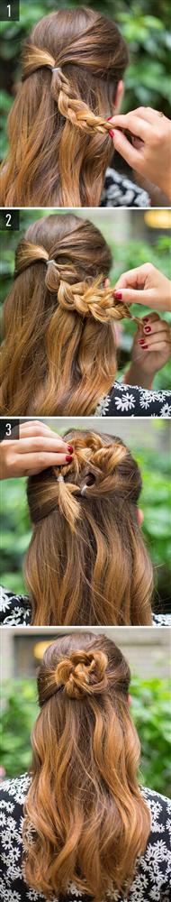 Çiçek örgü modeli  Saçınızın ardında minik bir örgü yapıp, onu şekildeki gibi kıvırın. Saçınızla aynı renk olmasına özen gösterdiğiniz bir tel tokayla tutturun. İşte bu kadar basit!