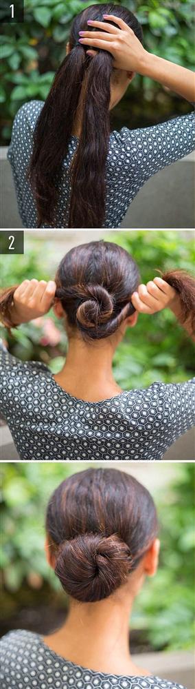 Girdap topuz  Balerin topuz için gerekli sünger toka ve diğer tüm ayrıntıları unutun.Saçınızı bağlayın, ayırın ve şekildeki gibi toplayın!