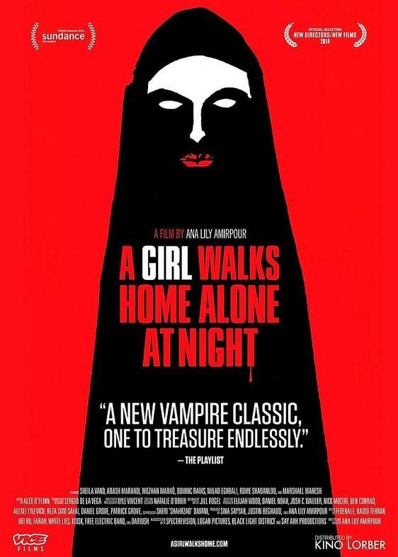 """A Girl Walks Home Alone at Night  Yönetmen: Ana Lily Amirpour  IMDb: 7.1   İran'da bulunan Bad City kasabası dünyanın geri kalanından soyutlanmış, suçla örülü bir yerdir. Özellikle de gece çöktüğünde kasaba, fahişeler, uyuşturucu satıcıları ve kadın tüccarlarının olur. Ancak bu tekinsiz kabanın sokaklarında geceleri yapayalnız gezinen bir başka figür daha vardır; bir kadın vampir, kasabayı tüm lanetlerinden arındırmak için suçluların peşine düşer. Arash ise şu hayatta belki de en kıymetli varlığı olan klasik arabasını, uyuşturucu bağımlısı babasının borçları nedeniyle satan genç bir adamdır. Arash bir gece arabasını sattığı kişiden geri almak için evine gittiğinde adamın ölmüş olduğunu fark eder. Böylece, olay mahallinde tüm soğukkanlılığıyla bekleyen vampir """"Kız"""" ile aralarındaki tuhaf ilişki başlamış olur."""