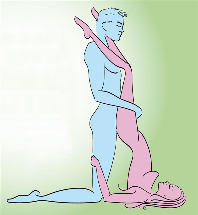 Ayaklar Omuzda  Pozisyona başlamadan önce sırtüstü yere doğru uzanın. Kadın önce ayaklarını erkeğin omzuna koyar. Erkek dizlerini kırar ve kadını bacaklarından kavrar, kadın ise bu sırada erkeğin bacaklarından tutarak destek sağlar.