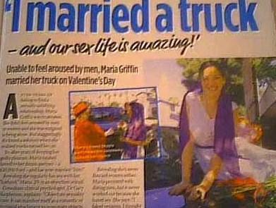 Kamyonetle evlenen kadın