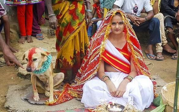 Köpekle evlenen kadın  Mangli Munda adındaki genç kızımız da üzerindeki uğursuzluk kalksın diye köpekle evlenme yöntemine başvurmuş.