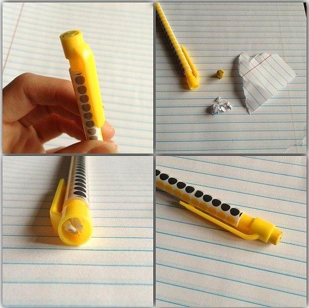 Uçlu kaleminizin arkasındaki silgi bitmek üzereyse, silgi yuvasının dibine yuvarlanmış küçük kağıt parçaları yerleştirerek silginin seviyesini yükselip ve kullanmaya devam edebilirsiniz.
