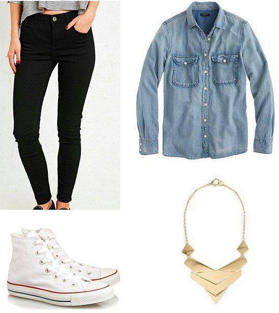 Siyah skinny jean ve kot gömlek, her tarz ayakkabı ile güzel bir kombin oluşturur.