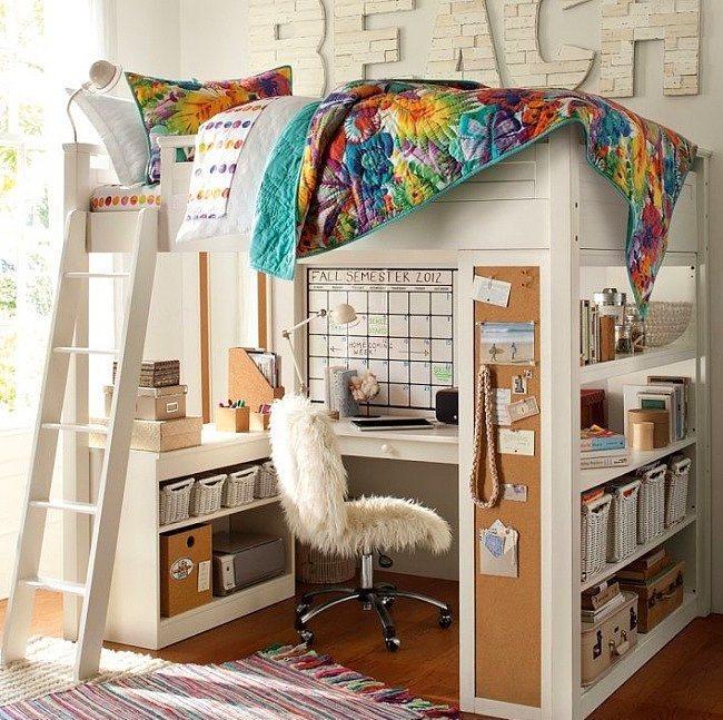14. Böyle bir odayı kim istemez be! Yatak ve çalışma odasının kapladığı yer bu.