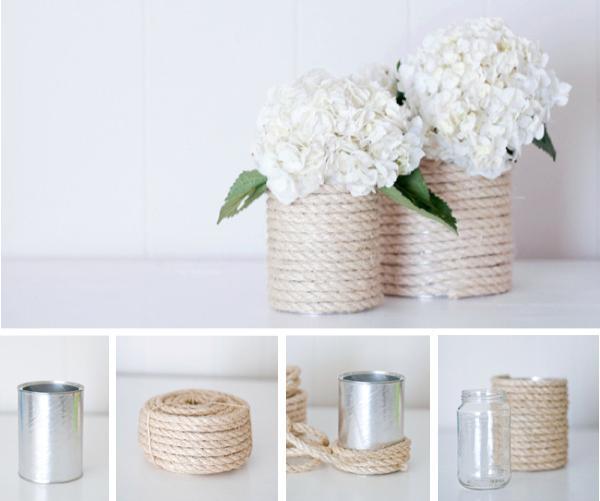 1- Teneke kutular ile vazo yapımı :  Madem ki girişi teneke kutuların vazo olarak kullanımı yaparak yaptık ve teneke kutulardan şık vazolar yapılabileceğinden bahsettik, ilk örneğimizi de bunun üzerine verelim istedim. Bunun için gerekli malzemeler, teneke kuru ve kalın halat ip, yapıştırıcı ve cam kavanoz.