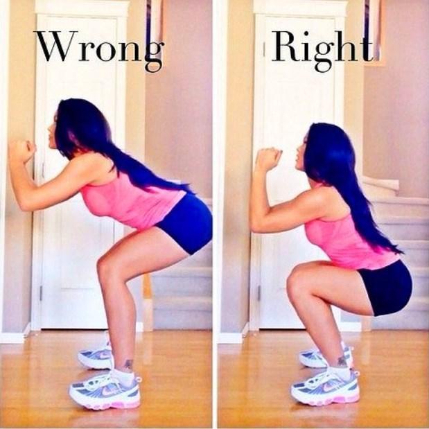 Yanlış Squat Yapıyoruz  Squat yaparken, kalçalarınız diz seviyesine en az paralel olacak kadar çökmelisiniz. Aksi takdirde kalçalarınız gerekli verimi alamaz ve dizlerinizin üstüne çok fazla yük biner.