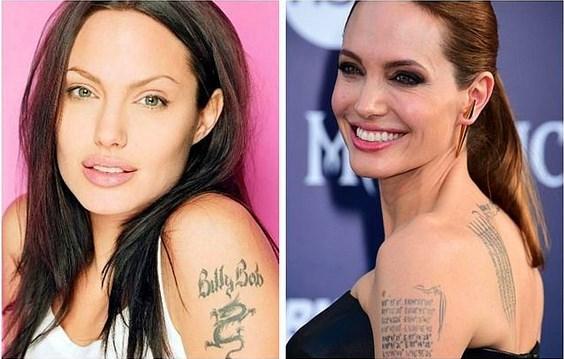2. Angelina Jolie  Angelina Jolie eski eşi Billy Bob Thornton'ın ismini omzuna yazdırıp, hem de küçük bir ejderha ile. Angelina ve Billy Bob ayrıldığında ise bu dövme lazerle silindi, yerini asla bitmeyecek bir aşk aldı. Angelina Jolie bu kez tüm çocuklarının doğum yerlerinin koordinatlarını tercih etti.