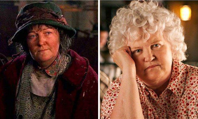 Omzundaki güvercinlerle hatırladığımız tuhaf kadını canlandıran Brenda Fricker, beyazlayan saçları hariç sanki hala aynı gibi.
