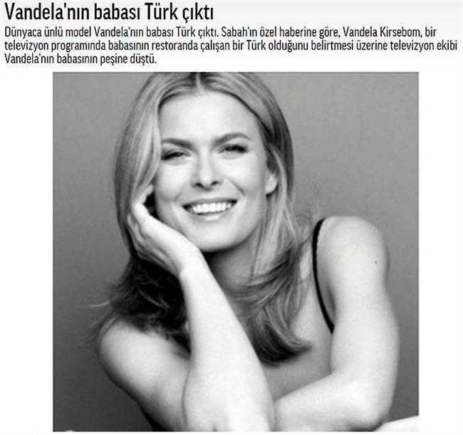 Vandela'nın babası Türk çıktı  Kendisi bir model ve baba tarafından bir Türk kızı.