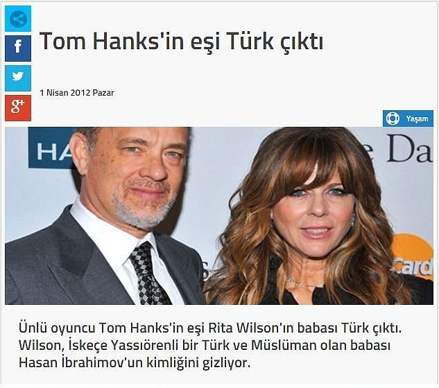 Yenge hanım Türk  Ünlü oyuncu Tom Hanks'in eşi de Türk ancak bunu saklıyormuş.