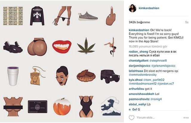 Kardashian, tamamen kendisinden esinlenilerek oluşturulan emojileri, iki gün önce sosyal medya hesabından takipçileri ile paylaştı.  Kimoji, kısa süre içinde yüzbinlerce kişi tarafından beğenildi.