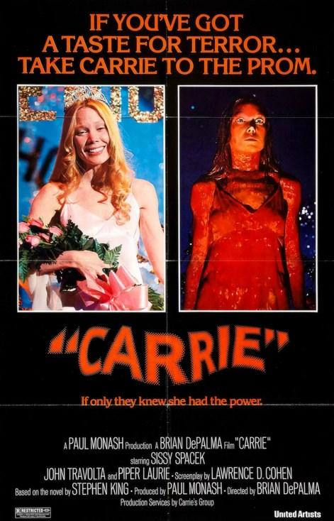 Carrie / Günah Tohumu (1976)  Carrie White baskıcı annesi yüzünden bir türlü kabuğunu kıramamış, kendi halinde, dış dünyaya uzak bir kızdır. Artık ergenliğin arifesindedir ve kadın olmuştur. Okulda yaşadığı oldukça travmatik bir olayın neticesinde gerçeküstü yeteneklerini birer birer keşfetmeye başlar. Öğretmenleri ve bazı arkadaşları onun durumuna üzülerek onu topluma kazandırma çabası içerisine girerler. Yakınlarda gerçekleşecek olan okul balosuna götürmek üzere bir oğlan onu davet eder. Ancak bu baloda ona hazırlanan korkunç bir şaka, herkes için ölümcül olacaktır. Hitchcock'un mirasçılarından Brian De Palma'nın yönettiği Carrie, sinema tarihinin en iyi Stephen King uyarlamalarından biri olarak gösteriliyor.