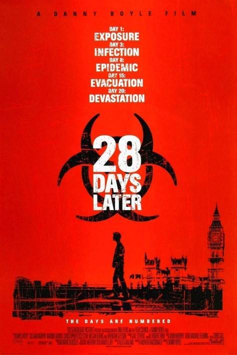28 Days Later / 28 Gün Sonra (2002)  Ölümcül bir virüs, İngiltere'yi tehdit altına almıştır. Bir araştırma laboratuarındaki hastalıklı şempanzelerden yayılan bu virüse yakalanan insanlar zor durumdadırlar. Bu işle mücadele eden kişiler sadece virüsü yok etmek değil, hastalığa yakalananlarla da büyük sorun yaşamaktadırlar. Çare olarak askerler tarafından yönetilen sığınağa taşındıklarında çok başka sorunlar ortaya çıkmaya başlar. İngiltere yapımı filmin yönetmeni Danny Boyle, oldukça başarılı bir iş çıkartmış. Kumsal adlı filmini de uyarladığı romanın yazarı olarak bildiğimiz Alex Garland, filmin senaryo yazarı.
