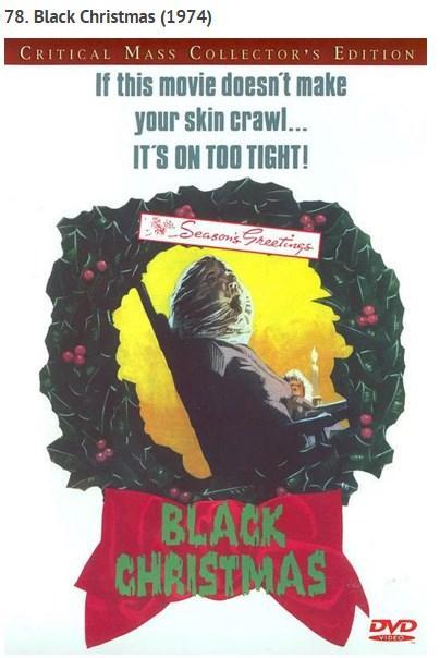 """Black Christmas (1974)  John Carpenter'ın Halloween'i (Korku Bayramı) ile haysiyet kazanan """"teen-slasher"""" akımının öncüllerinden 1974 Kanada yapımı olan film, akli dengesi yerinde olmayan bir seri katilin noel tatili sırasında kız öğrencilerin bulunduğu öğrenci yurdunu hedef alması sonucu öğrencilerle arasında geçen mücadeleyi temel alıyor. Filmin yönetmeni Bob Clark, 80'lerde yönettiği komedi-gençlik serisi Porky's ve bir başka noel hikâyesi olan Christmas Story ile tanınan bir isim."""
