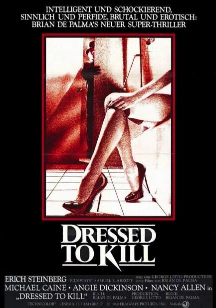 Dressed to Kill / Öldürmeye Hazır (1980)  Kate, New York'ta yaşayan, evliliğinde sorunları olan özgür ruhlu bir kadındır. Psikiyatristi Dr. Robert Elliot'a yaşadığı sorunlardan bahsettikten sonra gittiği müzede bir adamla tanışır. Takside başlayan ilişkileri eve kadar devam eder.  Birlikte olduktan sonraki sabah, adamın evinden ayrılan Kate asansöre biner. Yüzüğünü evde unuttuğunu fark ederek geri dönmek için aceleyle asansörden inince güneş gözlüğü takan, uzun boylu sarışın bir kadın tarafından öldürülür. Telekızlık yapmakta olan Liz Blake ise olayın tek görgü tanığı ve katilin sonraki hedefidir. Tek amacı annesinin katilini bulmak haline gelmiş Peter ile anlattığı hikayeye polisi pek de inandıramamış olan Liz, kendi başlarına katilin izini süreceklerdir.   Brian de Palma?nın kadın kıyafeti giyerek cinayet işleyen bir katili anlattığı film, ilk gösterildiği dönem, eşcinsel ve transeksüel kesimin tepkisini çekse de ve homofobik olarak suçlansa da sonraki yıllarda kült mertebesine ulaşmış, korku-gerilim unsurlarını başarıyla kullanan bir polisiye.