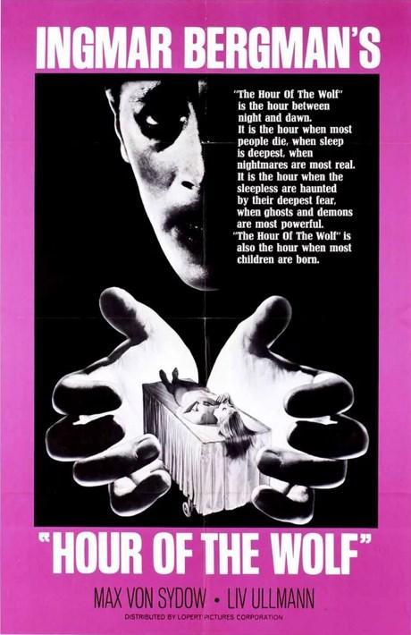 Hour of The Wolf / Kurtların Saati (1968)  Hamile karısı ile birlikte bir sayfiye evinde yazını geçiren Johan Borg, geçimini ressamlık yaparak sağlamaktadır. Johan, bir süredir garip ve rahatsız edici sanrılar ve kâbuslar görmektedir. Bunlardan sadece karısının haberi vardır. Yaşadığı korku yüzünden geceleri uyuyamamaktadır. Özellikle de gecenin yerini gündüze bıraktığı 'kurdun saati'nde... Kocasının yaşadığı bu zor durumda ona elinden geldiğince destek olmaya çalışan Alma da sanrılar görmeye başlar. Karı koca, bir süre sonra gerçek ve sanrıları birbirinden ayırt edemezler.