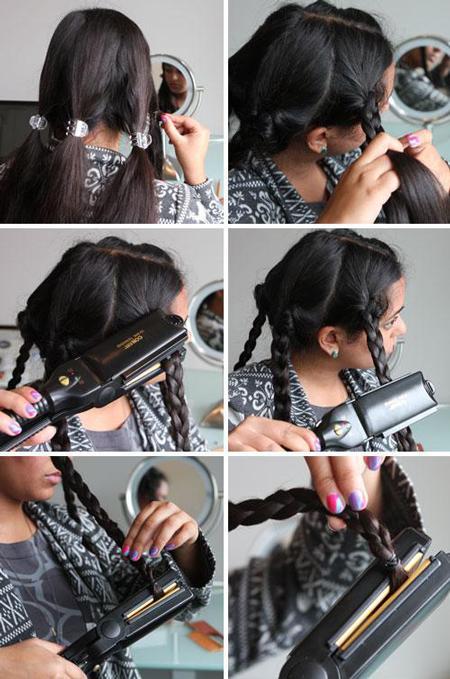 Saçını kıvırcık yapmak için, uygulayabileceğin bir diğer basit yöntem ise onları örüp, öyle düzleştirmek!