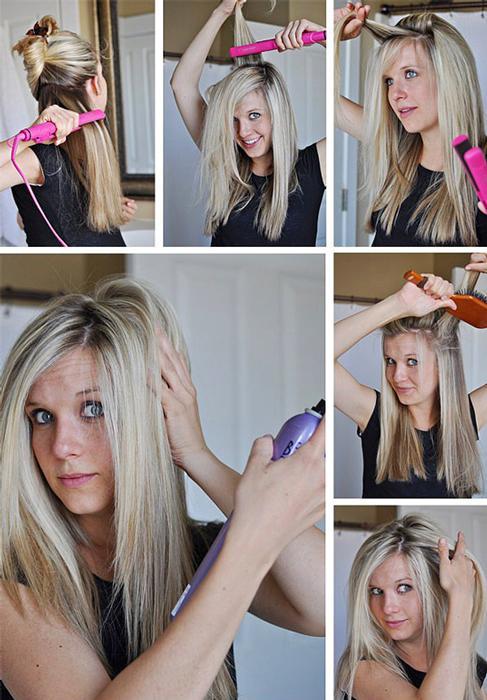 Sönük saçlarını havalandırmak mı istiyorsun?  O zaman çözüm basit: Hacimli durmasını istediğin bölgeleri yukarı doğru düzleştir.