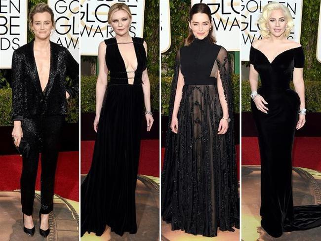 HER DERDE DEVA: SİYAH ELBİSE  Taylor Schilling, Kirsten Dunst, Emelia Clarke ve Lady Gaga.