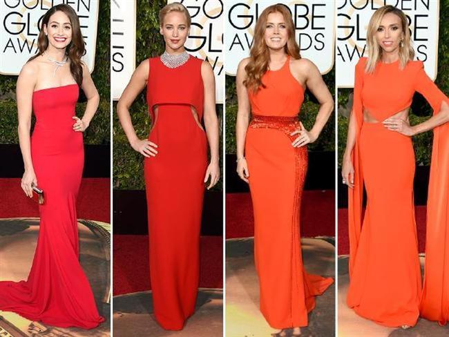 KIRMIZI TERCİHLERİ  Emmy Rossum, Jennifer Lawrence, Amy Adams ve Giuliana Rancic, dar kırmızı elbiseler giymeyi tercih etti.
