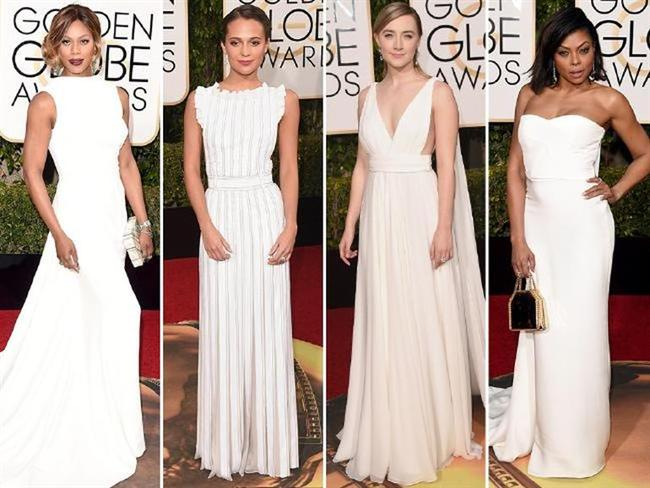 BEYAZLAR İÇİNDE...  Lavern Cox, Alicia Vikander, Saoirse Ronan ve Taraji P. Henson, beyazlar içindeydi...