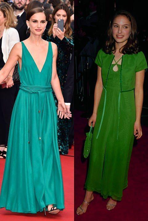 Natalie Portman  Portman ise o kumral tenine yeşil ve tonlarının yakıştığını, 1996 yılında bile biliyormuş.