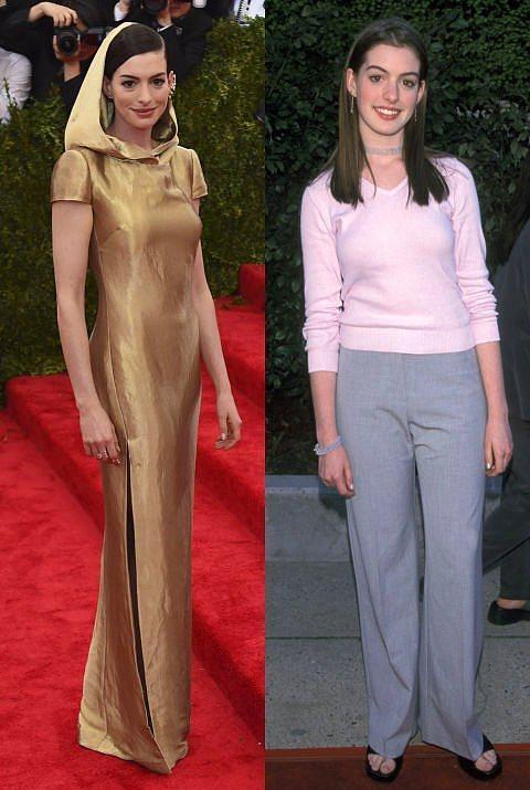 Anne Hathaway  Hathaway de, pek çok ünlü gibi ilk kırmızı halı törenine pantolonla katılanlardan.