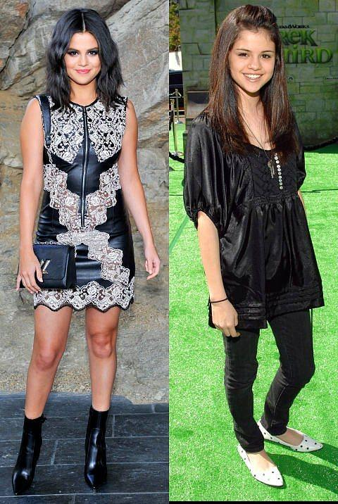 Selena Gomez  Son zamanlardaki tarzıyla modacılardan bol bol alkış toplayan Gomez, 2007 yılında Shrek'İn prömiyerine siyah tunik ve beyaz babetleri ile katıldı.
