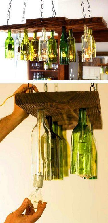 Şarap şişelerinden avize