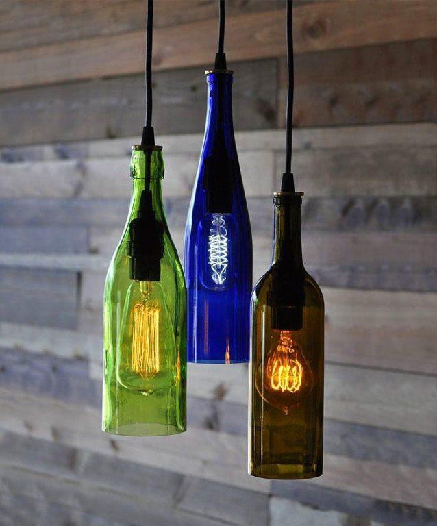 Şarap şişelerinden lamba