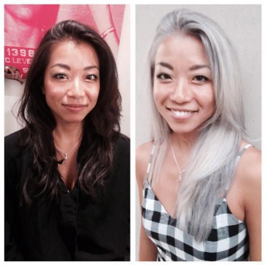"""Instagram'da #GrannyHair yani """"büyükanne saçı"""" etiketiyle yayılmaya başlayan bu akıma uyan kadınlar saçlarını gri renge boyatıyor. Bu cesaret isteyen yeni saç rengi genç kadınlar arasında hızla yayılıyor."""