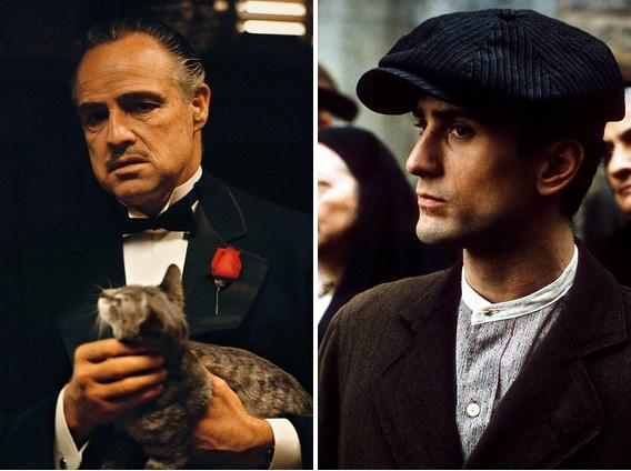 Vito Corleone karakteri ile Marlon Brando ve onun gençliğini canlandıran Robert De Niro.
