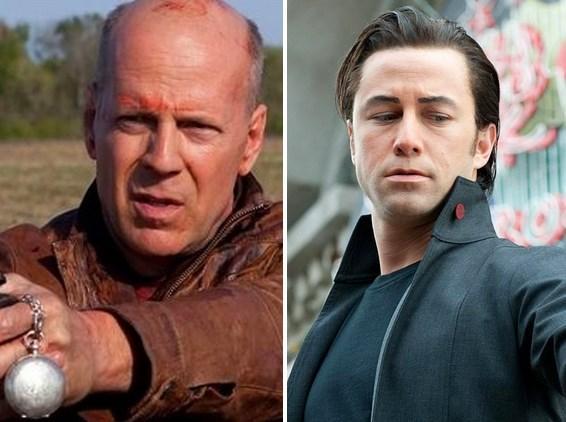Looper filminde Bruce Willis ve karşı karşıya geldiği gençliği rolünde Joseph Gordon-Levitt.