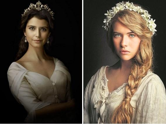 Kösem'de ne kadar benzeyip benzemediği tartışılsa da aynı karakteri oynayan Beren Saat ve Anastasia Tsilimpiou.
