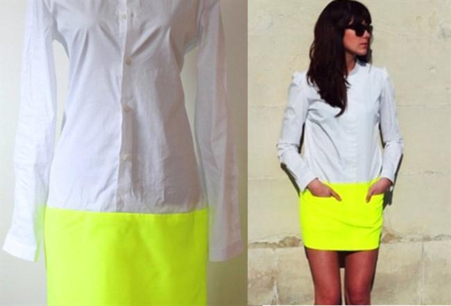 Ferah bir yaz elbisesi yapmak için bir gömlek bir de eski tişört ya da kumaş gerekiyor.