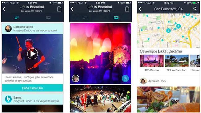 Banjo   Şu an için sadece Android işletim sistemine sahip cihazlarda kullanılabilen Banjo; Facebook, Twitter, Foursquare ya da Instagram gibi diğer sosyal ağ hesaplarınıza bağlanarak konumunuz üzerinden çevrenizdeki diğer kullanıcıları gösteriyor. Bunu yaparken bir de harita kullanan Banjo ile, dilerseniz bu haritayı taratarak yeni arkadaşlar edinebiliyorsunuz.