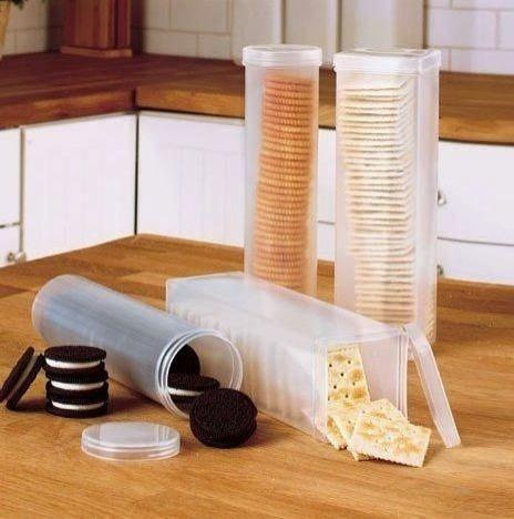 Kraker Kutusu  Kraker ve kurabiyelerinizin bu plastik kapların içinde daha uzun süre taze kalmasını sağlayabilirsiniz.